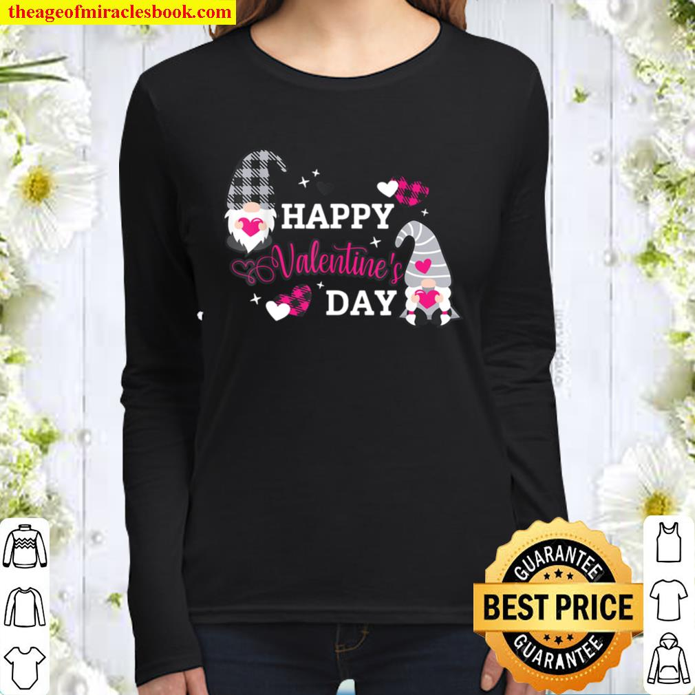 Valentine Gnomes Holding Hearts Valentine_s Day Gnome Love Women Long Sleeved