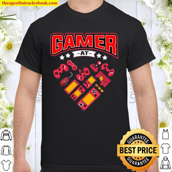 Video Gamer At Heart Gift Mens Boys Valentines Day Shirt