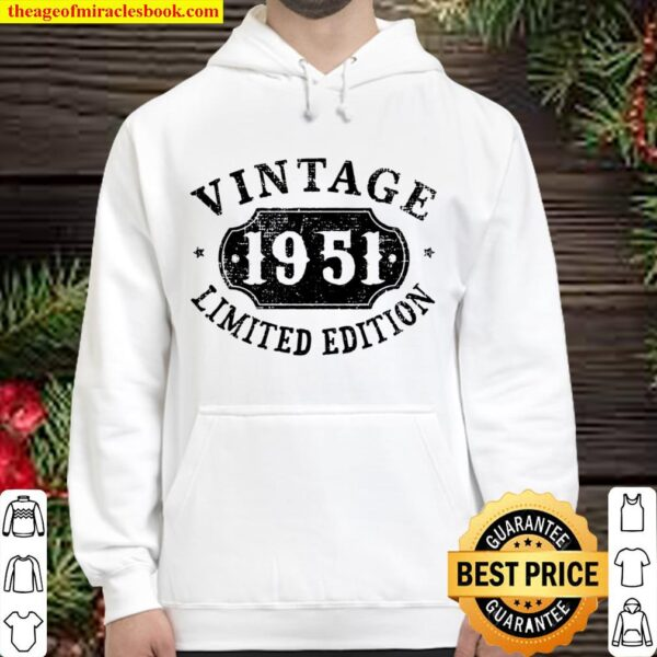Womens 70 Years Old 70Th Birthday Anniversary Gift Limited 1951 V-Neck Hoodie