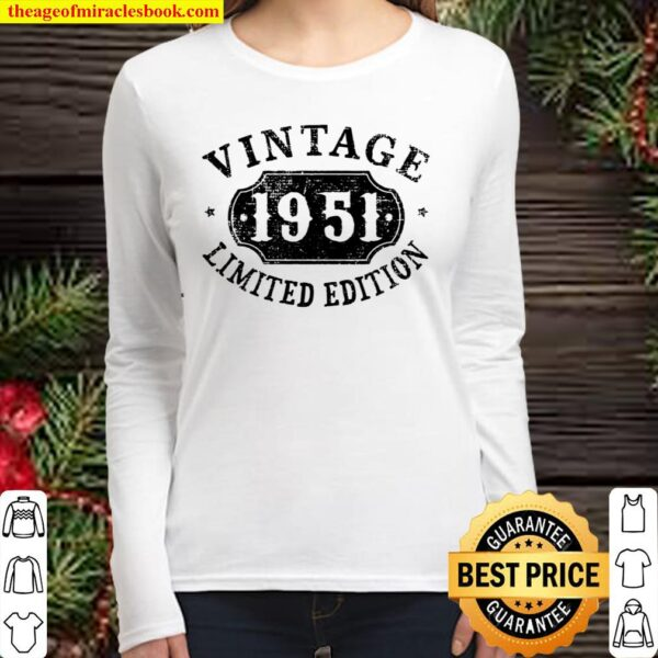Womens 70 Years Old 70Th Birthday Anniversary Gift Limited 1951 V-Neck Women Long Sleeved