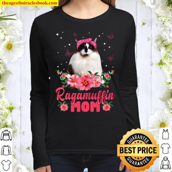 Womens Cat Mom Mother_s Day Gifts Flowers Ragamuffin Mom Women Long Sleeved