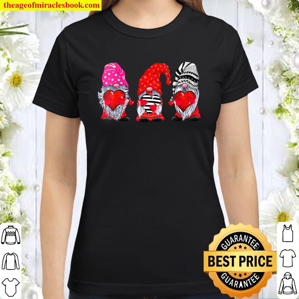Womens Gnome Valentines Day Shirt For Women Gifts Gnome Valentine Classic Women T-Shirt
