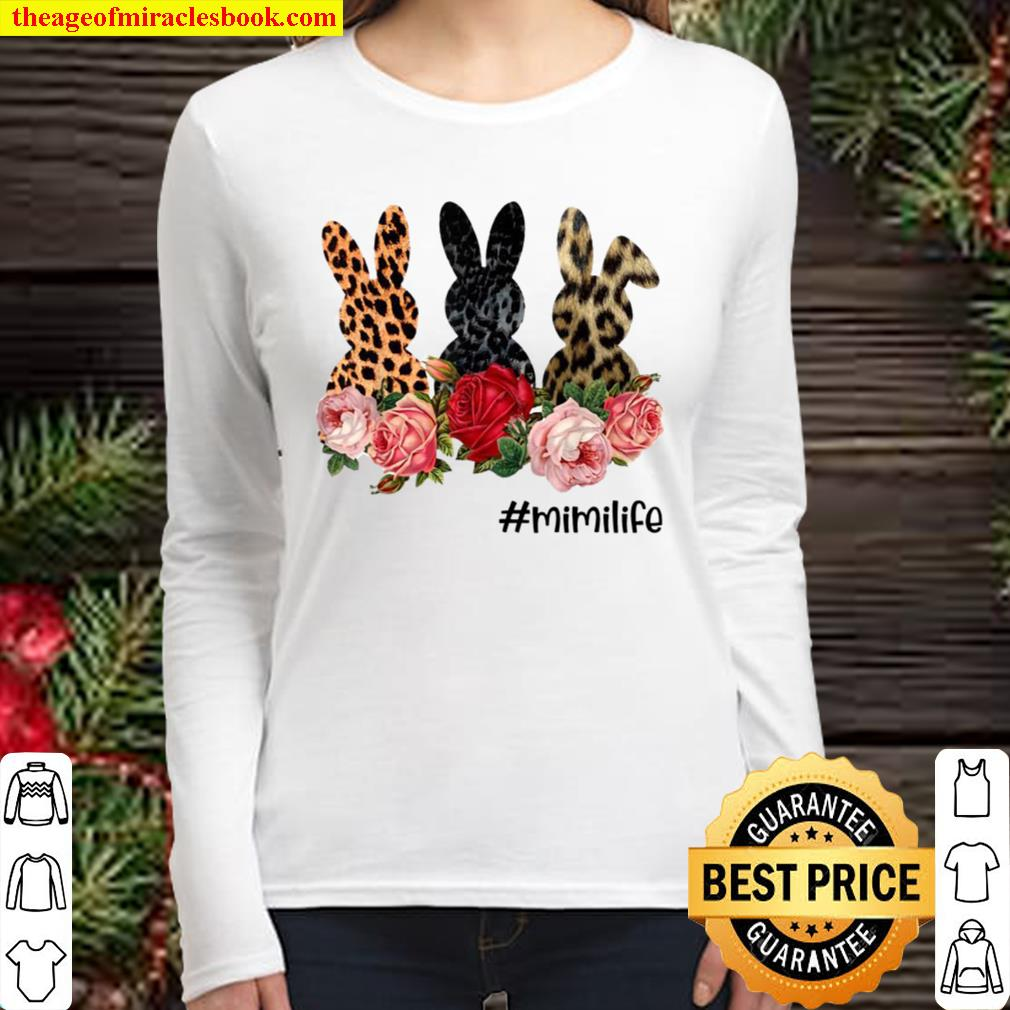 Cute Easter Bunny Flowers Happy Easter Day Women Long Sleeved