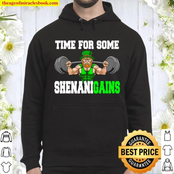 Time For Some Shenanigains Lifting Leprechaun St Patrick Day Hoodie