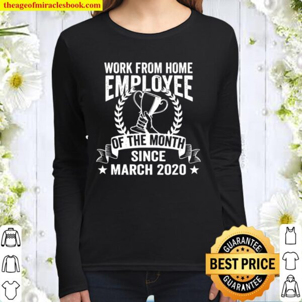 Work From Home Employee of the Month Vintage Retro Gift Women Long Sleeved