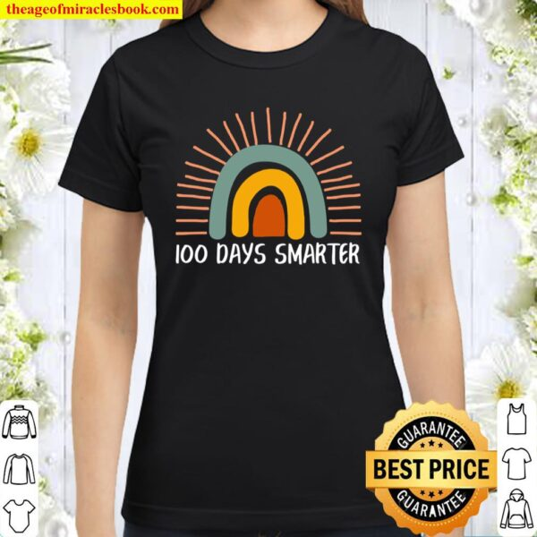 100 Days Smarter Boho Vintage Style 100th Day Of School Classic Women T-Shirt