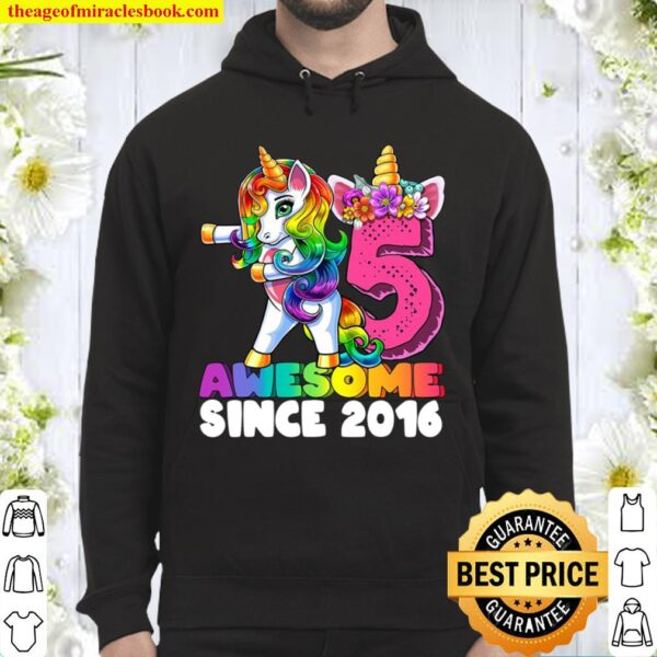 Awesome Since 2016 Flossing Unicorn 5Th Birthday Gift Girls Hoodie