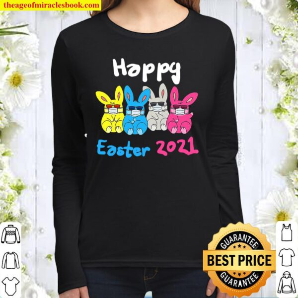 Bunny In Face Mask Sunglasses Happy Easter 2021 Quarantine Women Long Sleeved