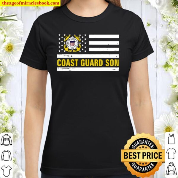 Coast Guard Son With American Flag For Veteran Day Classic Women T-Shirt
