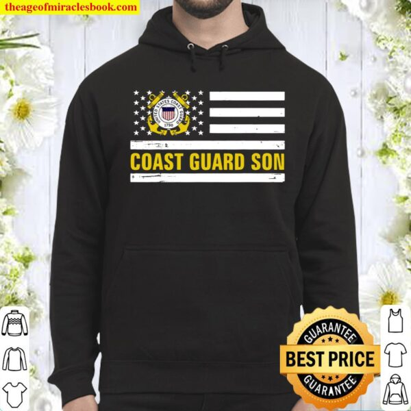 Coast Guard Son With American Flag For Veteran Day Hoodie