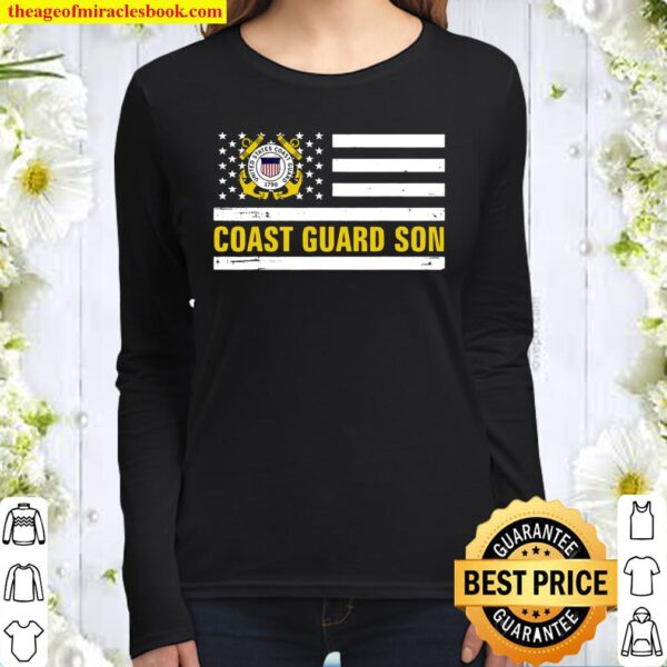 Coast Guard Son With American Flag For Veteran Day Women Long Sleeved