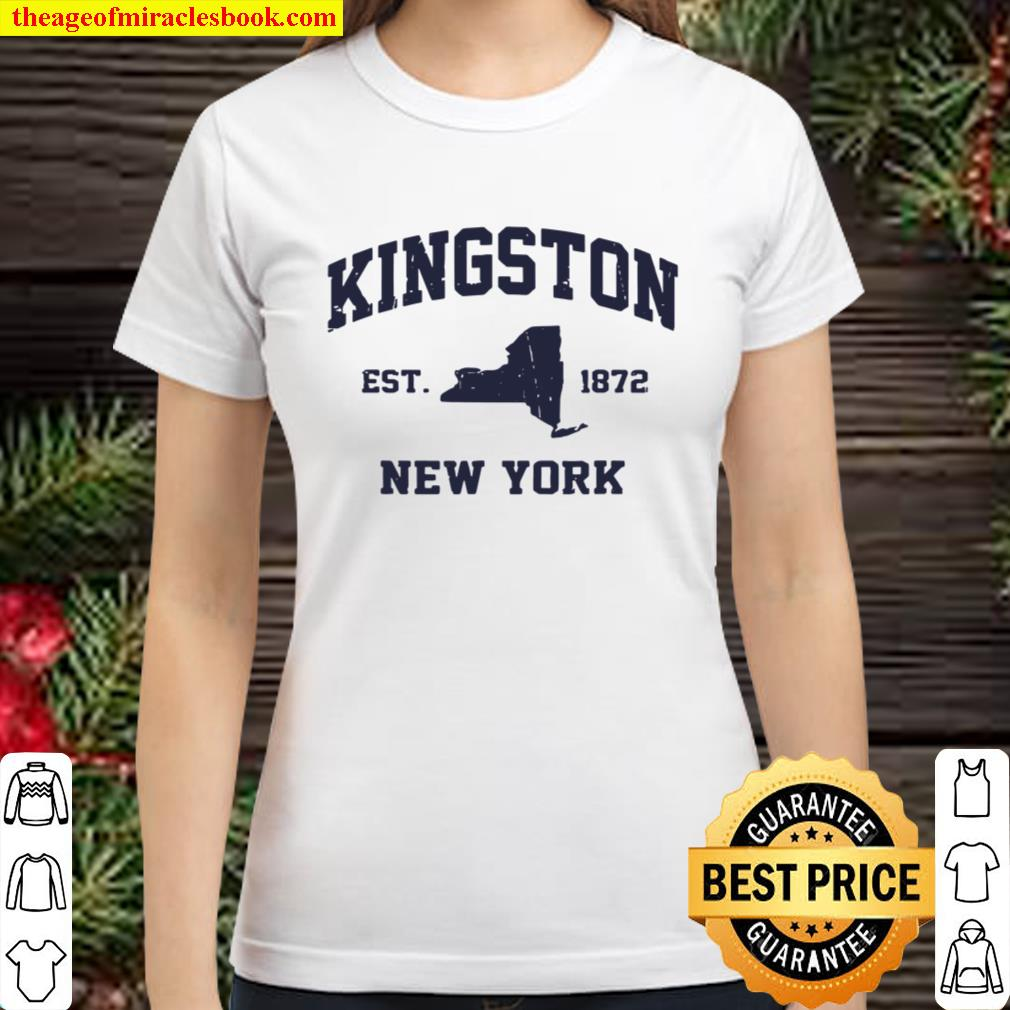 Kingston New York NY vintage state Athletic style Classic Women T-Shirt