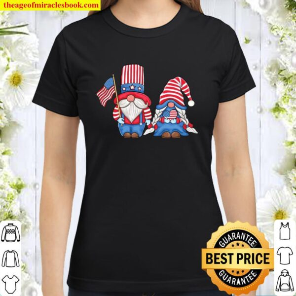 Patriotic Gnomes couple Love USA 4th of July American Flag Classic Women T-Shirt