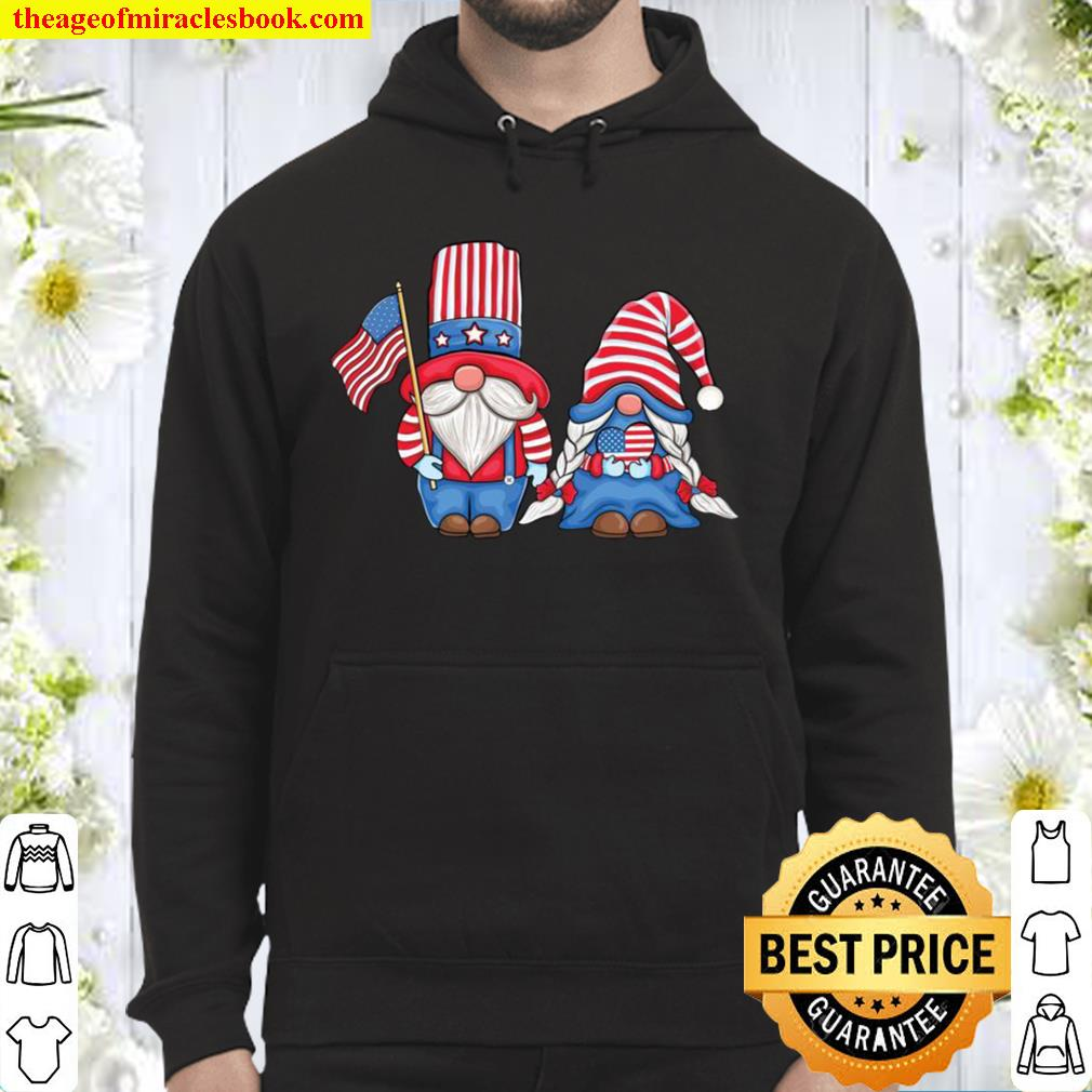 Patriotic Gnomes couple Love USA 4th of July American Flag Hoodie