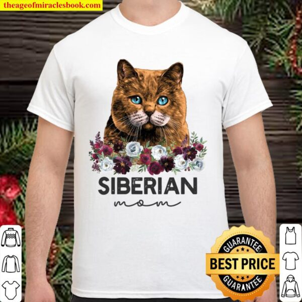 Red Siberian Cat Mom Floral Shirt