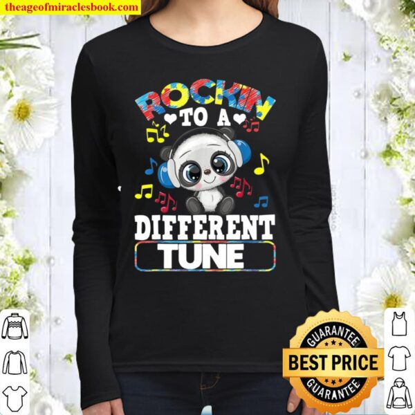 Rockin' To A Different Tune Panda Autism Awareness Women Long Sleeved