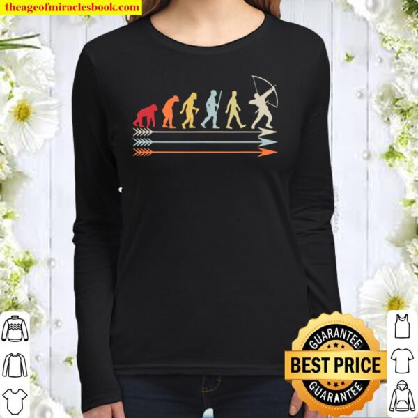 Archery Archer With Bow Evolution Of Man Retro Look Women Long Sleeved
