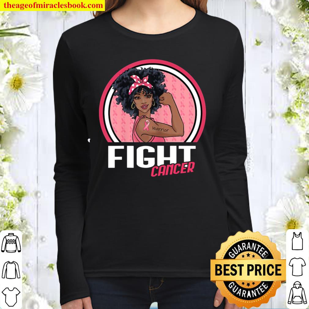 Fight Breast Cancer Warrior Black Afro African American Gift Women Long Sleeved