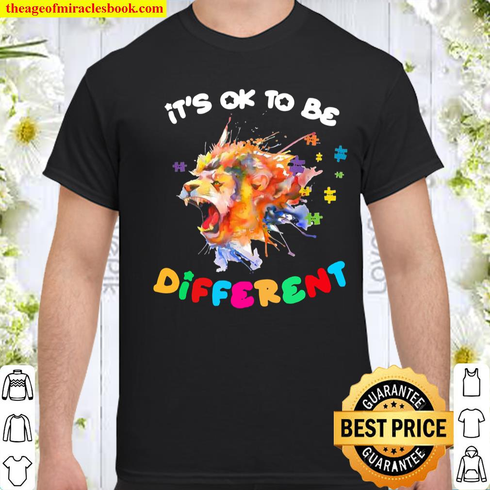 Mens Autism Awareness It's Ok to Be Different Colorful Lion Shirt