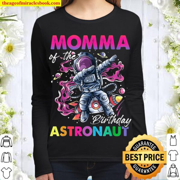 Momma Of The Birthday Astronaut Space Theme Women Long Sleeved
