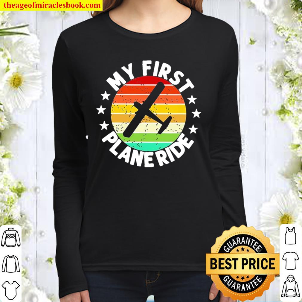 My First Plane Ride Retro Vintage Women Long Sleeved