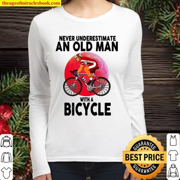 Never Underestimate An Old Man With A Bicycle Women Long Sleeved