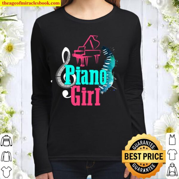 Piano Girl Pianist Music Notes Women Long Sleeved