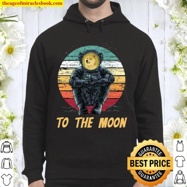Retro Dogecoin to the Moon Shirt, Astronaut Doge Coin Crypto Hoodie