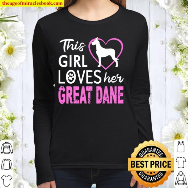 This Girl Loves Her Great Dane Dog Distressed Women Long Sleeved