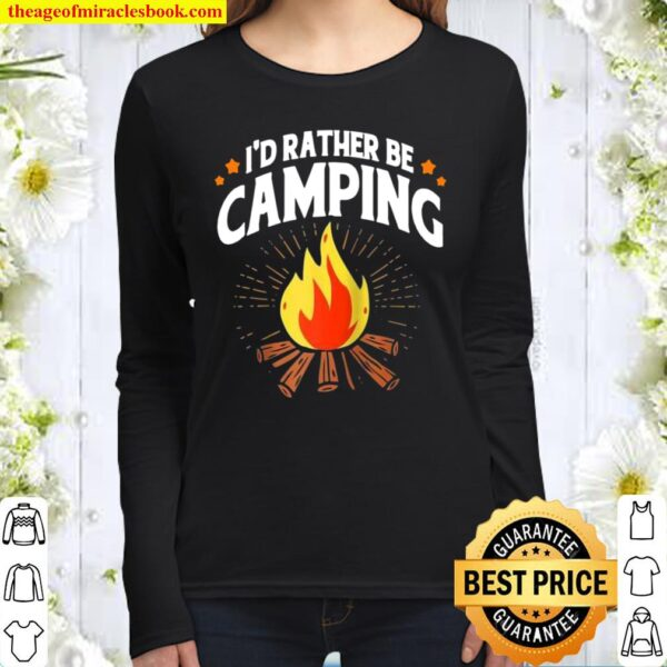 Vintage I'd Rather Be Camping Women Long Sleeved
