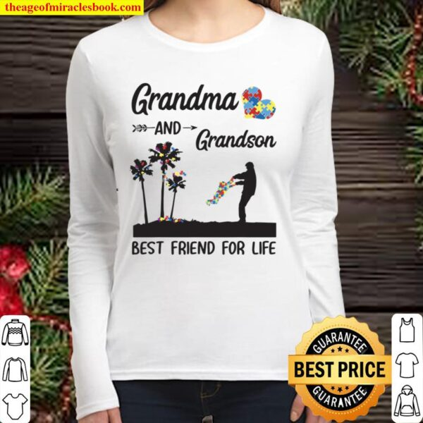 Autism Awareness Grandma And Grandson Best Friend For Life Women Long Sleeved