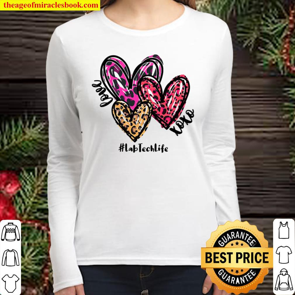 Love Lab Tech Life Heart Leopard Costume Valentine's Day Women Long Sleeved