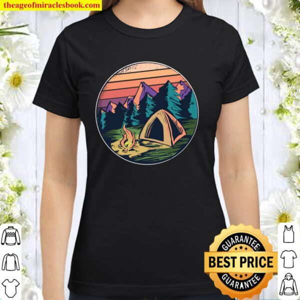 Retro Camping Lover Gif Cool Camper Long Sleeve Classic Women T-Shirt