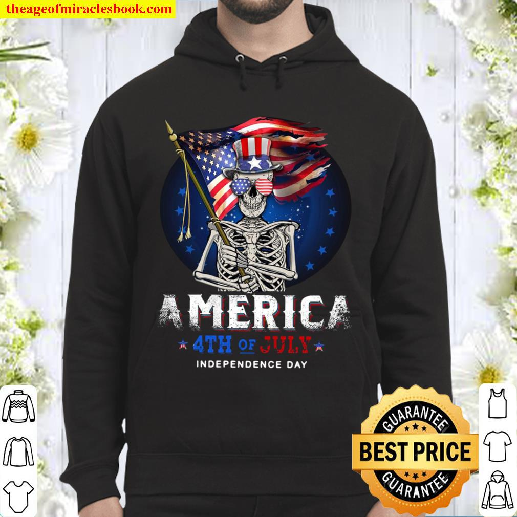 Skull Flag America 4th of July Independence Day Hoodie