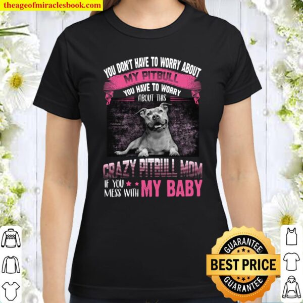 You Don't Have To Worry About My Pitbull You Have To Worry Crazy Pitbu Classic Women T-Shirt