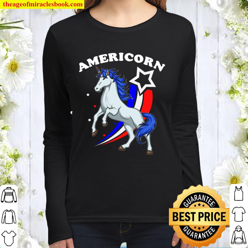 4th of July Americorn American Flag Unicorn Independence Day Women Long Sleeved