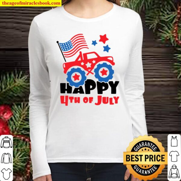 4th of July Toddler Shirt, Happy 4th of July Monster Truck Kid Women Long Sleeved