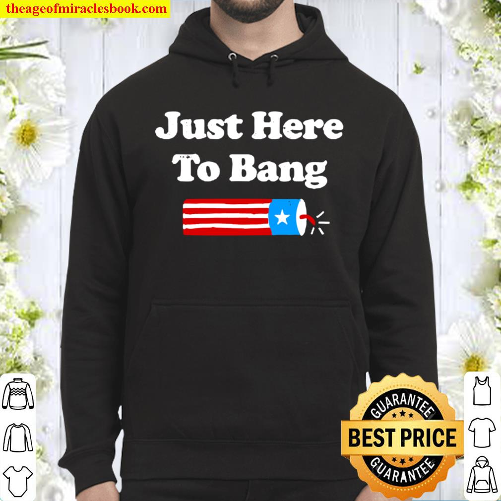 Funny Fourth Of July 4Th Of July Just Here To Bang Hoodie