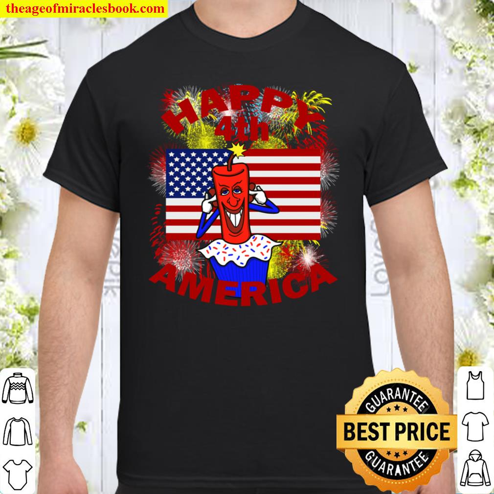 Happy 4th America Fourth of July Celebration Red Letter Shirt