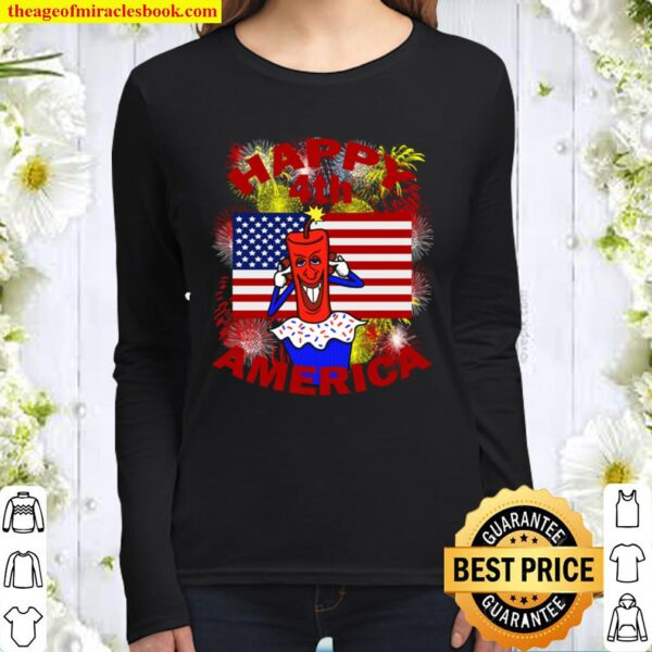 Happy 4th America Fourth of July Celebration Red Letter Women Long Sleeved