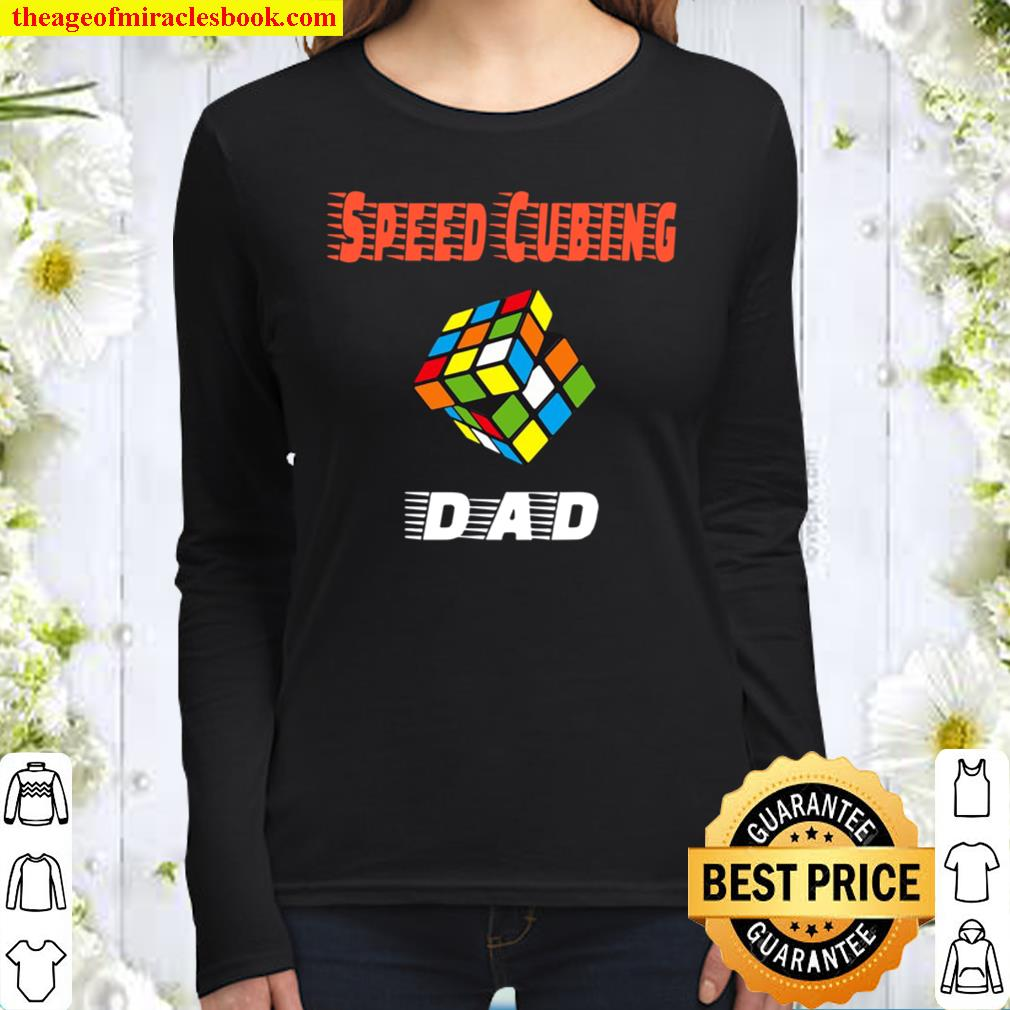 Mens Cubing Dad Speed Cubing Puzzle Graphic Women Long Sleeved