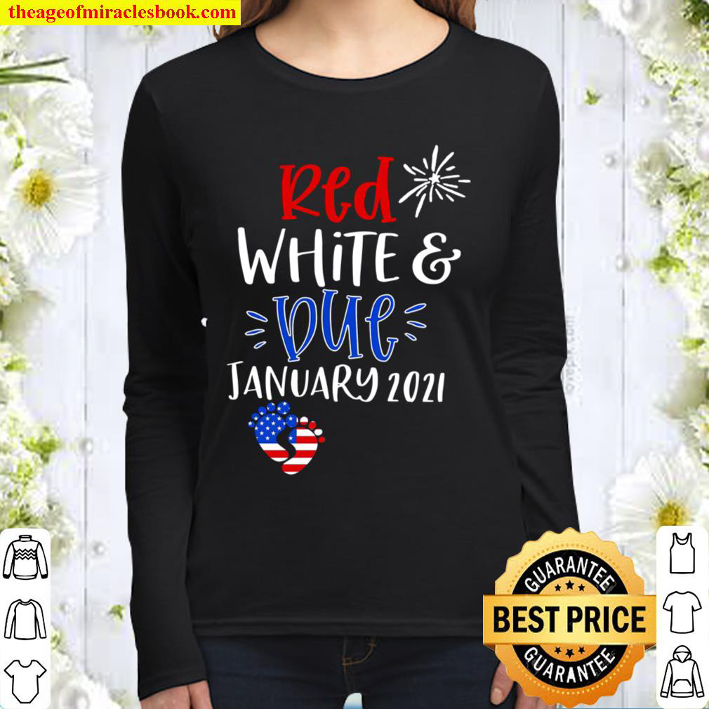Red White _ Due Pregnancy Announcement Women Long Sleeved
