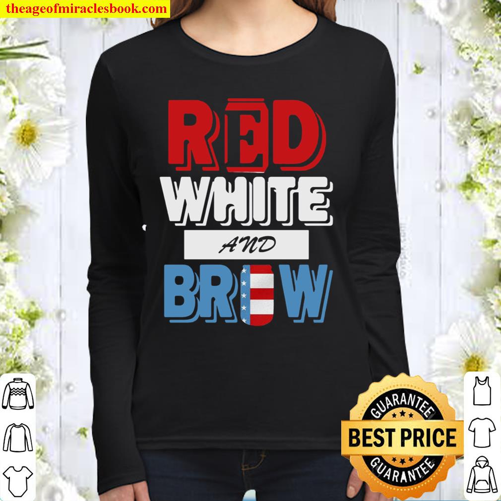 Red White and Brow America 4th of july Women Long Sleeved