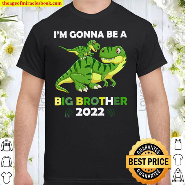 I m Gonna Be A Big Brother 2022 T Rex Dinosaur Baby Announcement Gif Shirt