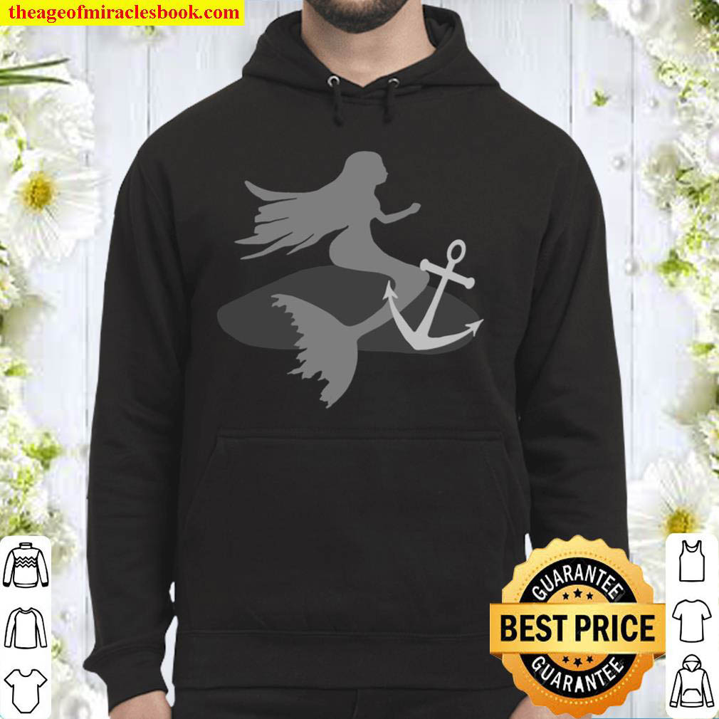 Sitting mermaid with anchor chain beautiful sea outfits fantasy love Hoodie