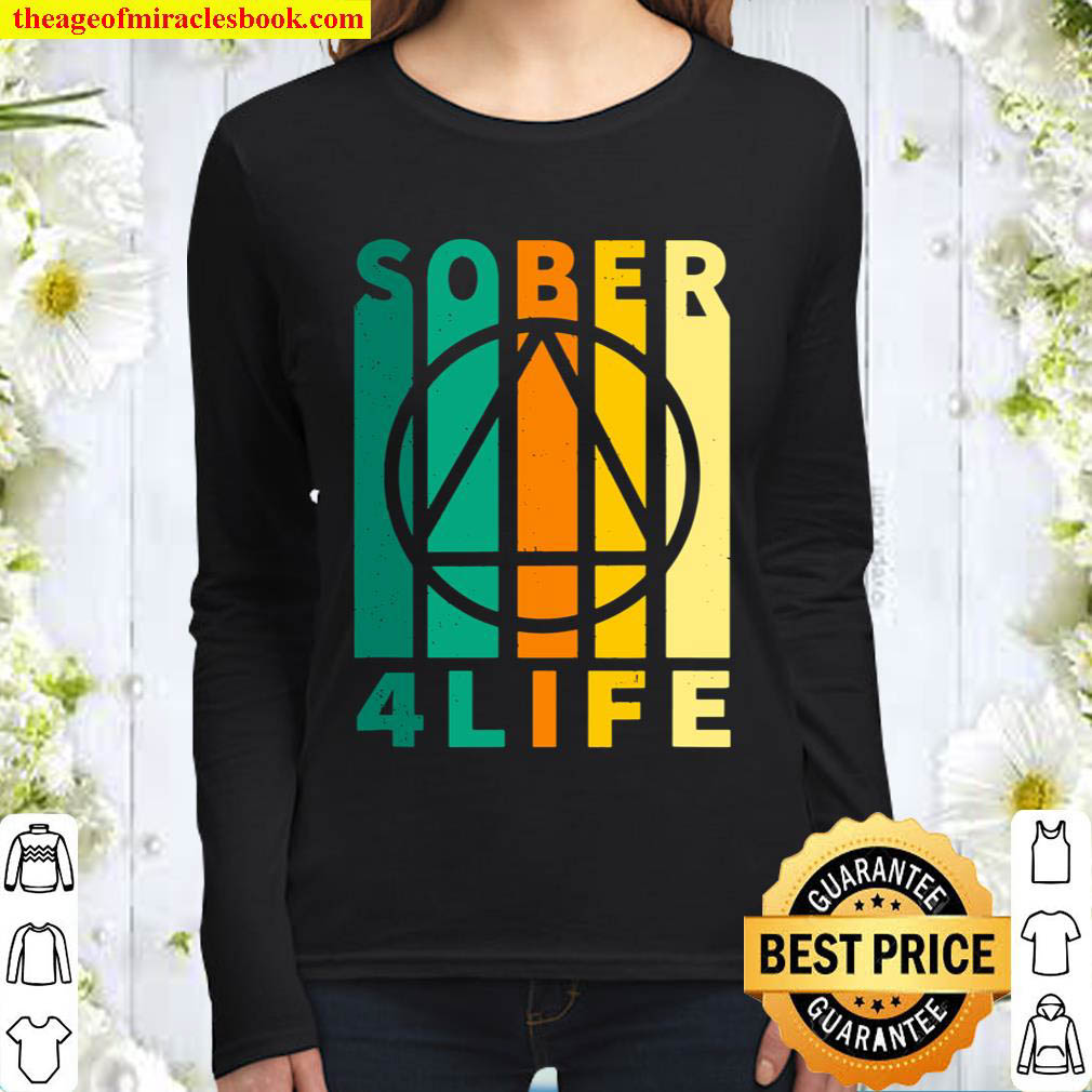 Sober Four Life AA NA Sobriety Recovery Anniversary Women Long Sleeved