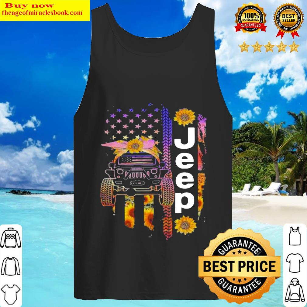 JEEP AND SUNFLOWER FLAG Tank Top